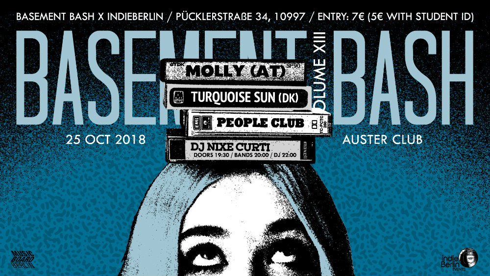 Guest list for Basement Bash 25.10: Molly, Turquoise Sun & People Club!